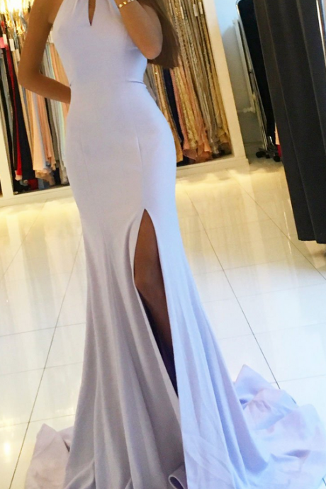 Sexy High Neck Mermaid Long Prom Dress with Split,Lavender Evening Dress,Backless Party Dress