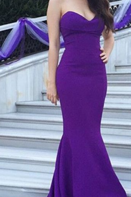 Purple Evening Dresses ,Sexy Evening Dresses , Mermaid Long Dresses ,Women Long Dresses ,Satin Long Girls Dresses , Wedding Party Dresses ,Long Prom Dress