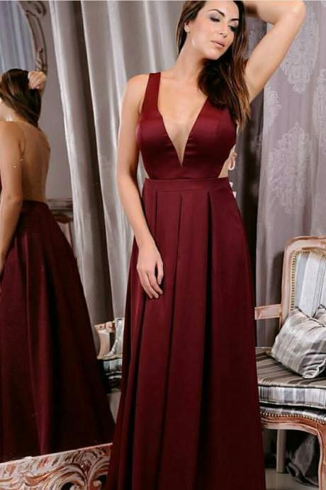 Plunging Neck Burgundy Prom Dress Illusion Back Evening Dress