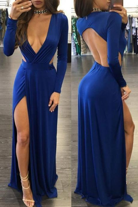 Sexy Prom Dress,Deep V-neck Prom Dresses, Royal Blue Evening Dress