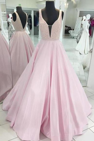 Stylish pink V neck prom dresses,beaded long senior prom dress, open back evening dress, Sexy Evening Party Dresses, Formal Dresses