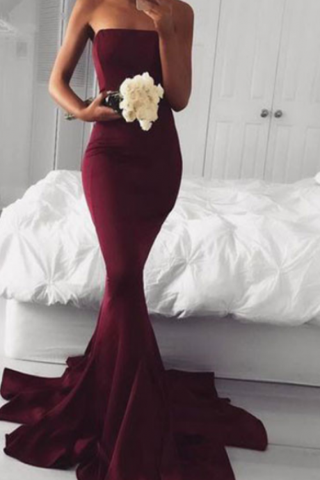 Burgundy Mermaid Prom Dresses,Strapless Sweep Train Prom Dress,Sexy Evening Dress,Zipper Back Formal Dresses