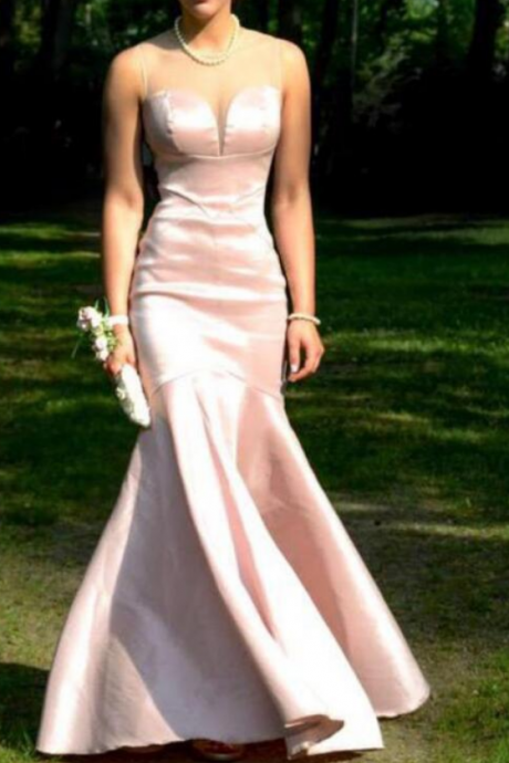 Lovely Pink Mermaid Prom Dress,Evening Dress,Satin Prom Gowns, Long Prom Dresses