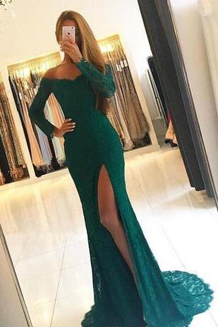 2018 Sexy Green Off The Shoulder Sheath Evening Dresses Long Sleeves Lace Split Sweep Train Formal Party Prom Dress