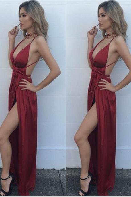 Simple Cheap Prom Dresses,Red Prom Dress,Prom Dresses For Teens,Deep V-neck Prom Dress,Sexy Prom Gowns,Open Back Evening Dresses,High Quality Prom Dress