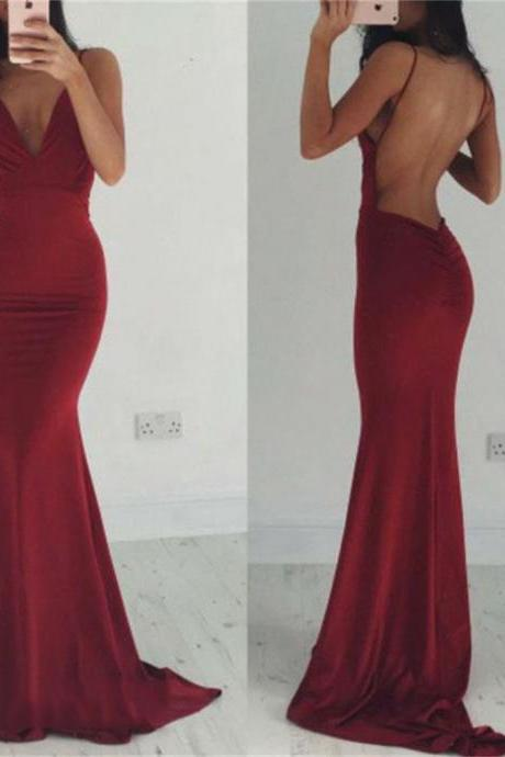 Burgundy Prom Dresses,V-neck Prom Dresses,Mermaid Prom Dresses,Simple Prom Dresses,Cheap Prom Dresses,Women Dresses,Backless Prom Dresses,Evening Dresses,Prom Dresses For Teens