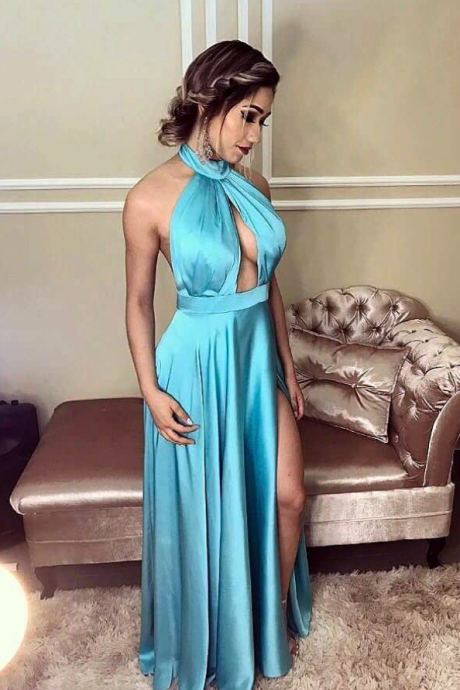 slit prom dress,elegant bridesmaid dress,prom gowns