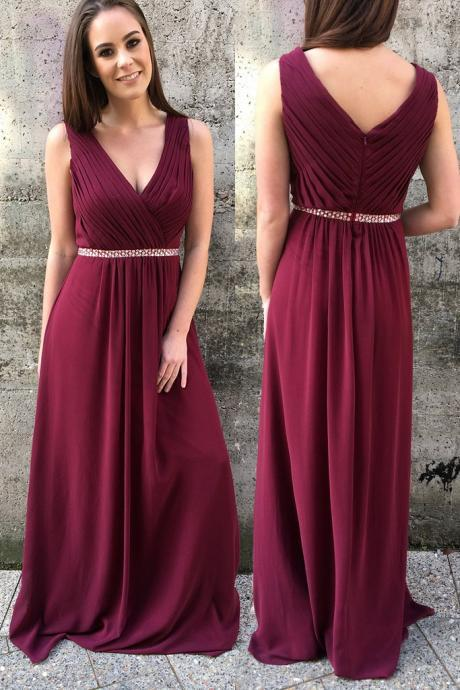 Chiffon Prom Dress,Pleated Prom dress, Long Bridesmaid Dresses, V-Neck Prom Dress ,Formal Evening Gowns.Sleeveless Prom Dress