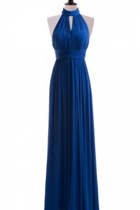 Royal Blue Prom Dress,A line Halter Prom Dress,Cheap Prom Dress,Neckline Royal Blue Bridesmaid Dress, Long Formal Dress