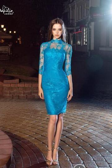 High Neck Evening Dress, Blue Evening Dress, Lace Applique Evening Dress, Short Evening Dress, Evening Dresses