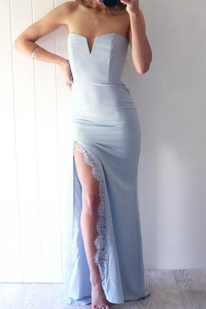 Blue Satin Strapless Mermaid Long Prom, Evening Dress with Front Slit