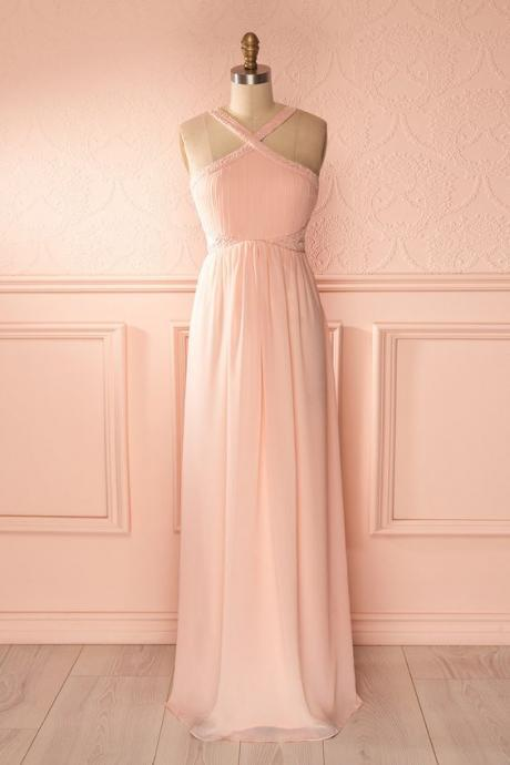 Blush Pink Prom Dresses,A-Line Prom Dress,Simple Prom Dress,Chiffon Prom Dress,Simple Evening Gowns,Cheap Party Dress