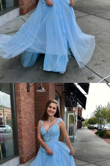 Light Blue Prom Dresses,A-Line Straps Prom Dress,Floor-Length Light Blue Prom Dress with Lace Beading,Evening Gowns