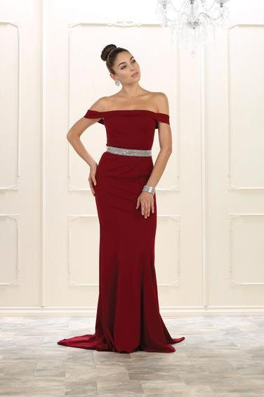 Long Off Shoulder Evening Gown, Formal Prom Dress,Mermaid Prom Dresses