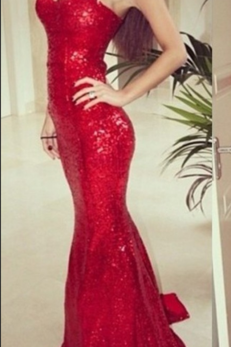 Custom Made Sweetheart Neckline Floor-Length Sequinned Prom Dress / Long Evening Dress - Red
