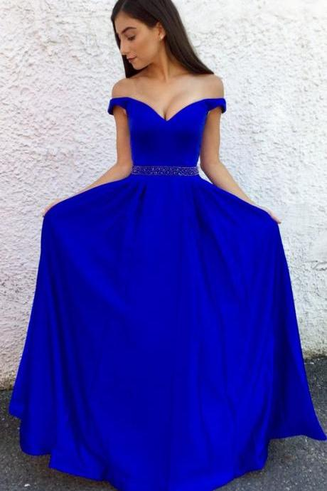 2018 prom dresses graduation dresses, royal blue long prom dress, off the shoulder long royal blue dress