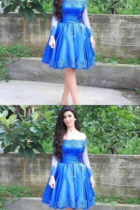 Blue homecoming dress, off shoulder homecoming dress, satin homecoming dress, short party dress