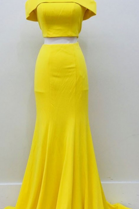 Two-pieces long prom dress, yellow prom dress, high quality handmade prom dress, sexy long prom dress, elelgant wowen dress, party dress, dress for teens