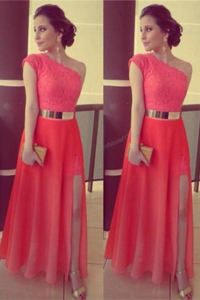 One-Shoulder Red Prom Dress ,Lace Prom Dress,long prom dress,high quality prom dress, Elegant Women dress,Party dress Evening Gowns