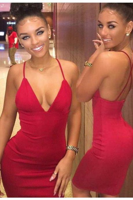 Homecoming Dresses Red Sleeveless Charmeuse Crossed Straps Pick-ups Knee-length V-Neck Scoop Column