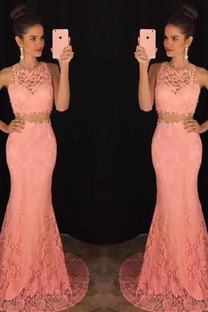 Elegant Prom Dresses.Two Piece Evening Dresses,Pink Lace Simple Mermaid Dress