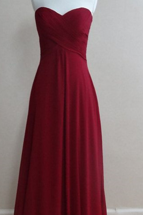 Burgundy Chiffon Prom Dresses,A-Line Prom Dress,Evening Dress
