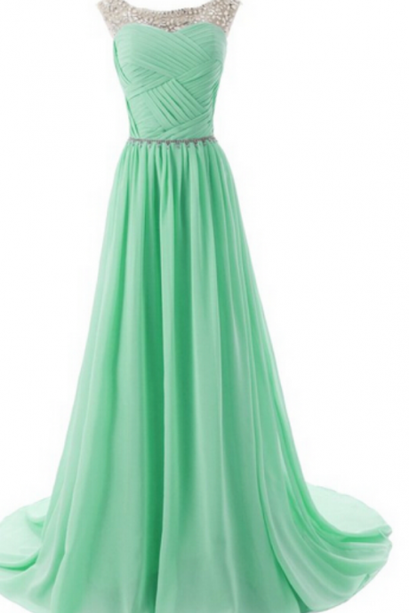Green Sleeveless Crystal Beaded A-Line Prom Dresses