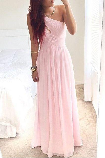 One Shoulder Prom Dresses,Pink Prom Dress,Evening Dress