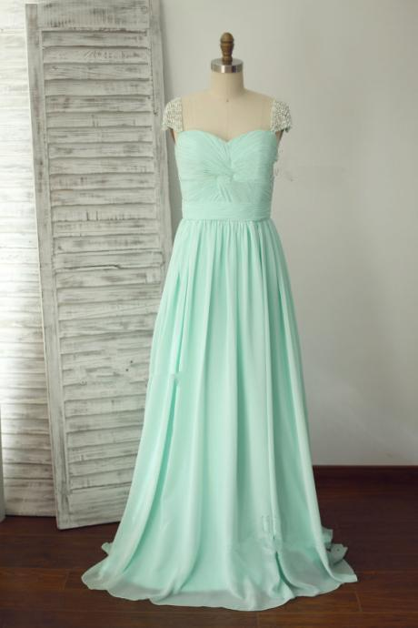 Cap Sleeve Prom Dresses,Lovely Prom Dress,Evening Dress