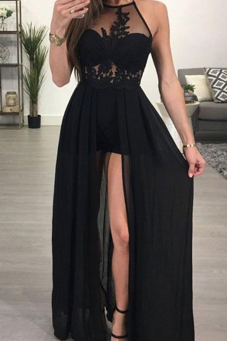 Sexy Long Black Prom Dresses with Appliques Shorts