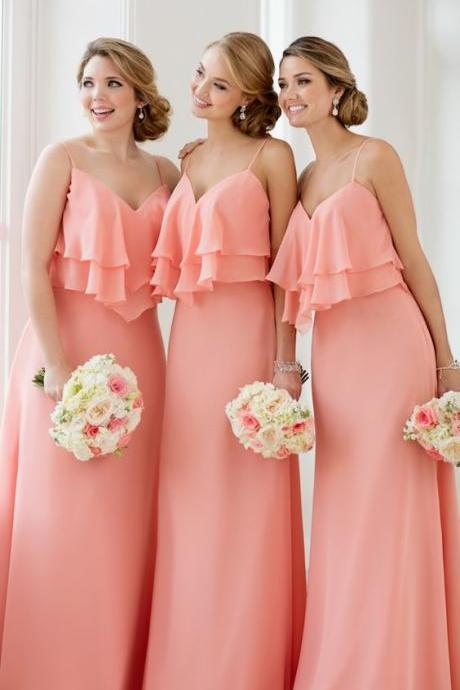 Spaghetti Strap V-Neck Ruffle Chiffon Long A-line Bridesmaid Dress