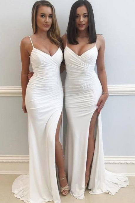 White Prom Dresses, Sexy Spaghetti Straps Prom Dresses, Chiffon Prom Gowns, Party Dresses, Slit Prom Dress, Sheath/Column V-neck Jersey Sweep Train Ruffles Prom Dresses
