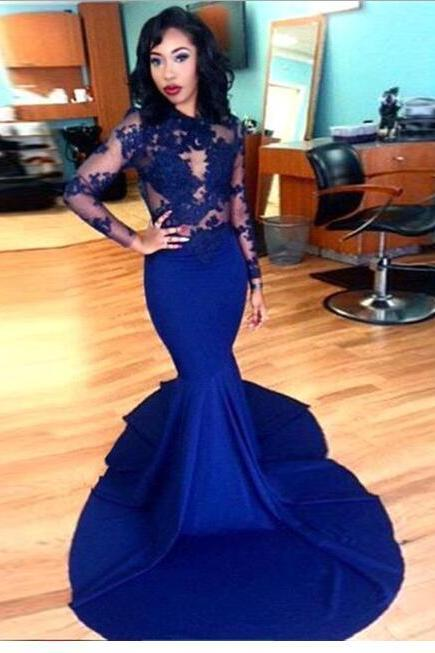 Long Sleeves Lace Prom Dresses,Mermaid Prom Dresses.Long Prom Dresses,Royal Blue Prom Dress,Evening Dresses,Sexy Prom Gowns,Evening Gowns,Women Dresses