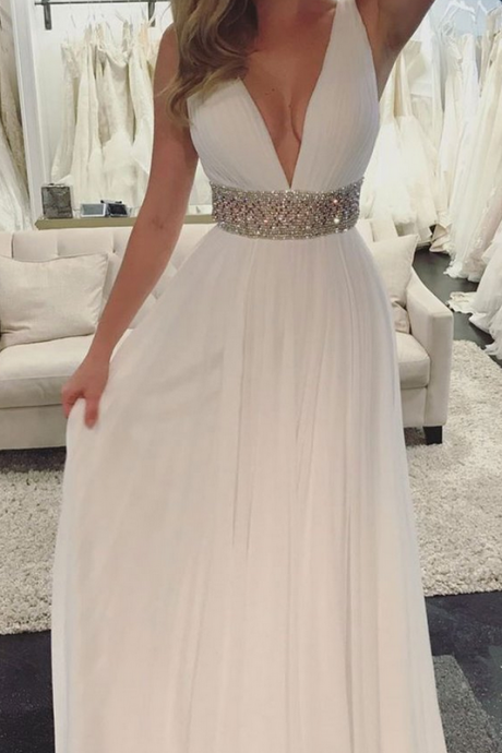 White V Neck Beads Sash Prom Dress, Long A Line Prom Dresses, Women Formal Party Gowns, Evening Dresses, White Bridesmaid Dresses