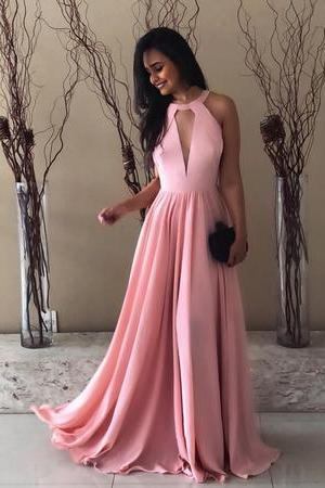Pink Halter Chiffon Prom Long Dresses Open Back Evening Gowns