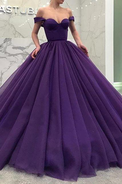 Off Shoulder Prom Dress,Sweetheart Evening Dress,Tulle Quinceanera Ball Gown