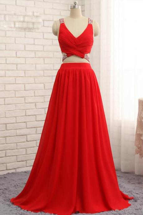 Prom Dresses A-line V-neck Floor Length Chiffon Bead Two Pieces Prom Gown