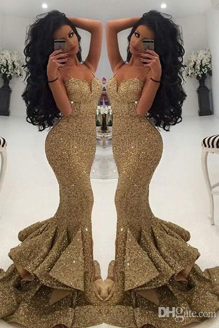 New Designer Bling Gold Sequins Mermaid Prom DresseSpaghetti Open Back Ruffles Sweep Train Evening Gowns Pageant Dress Formal