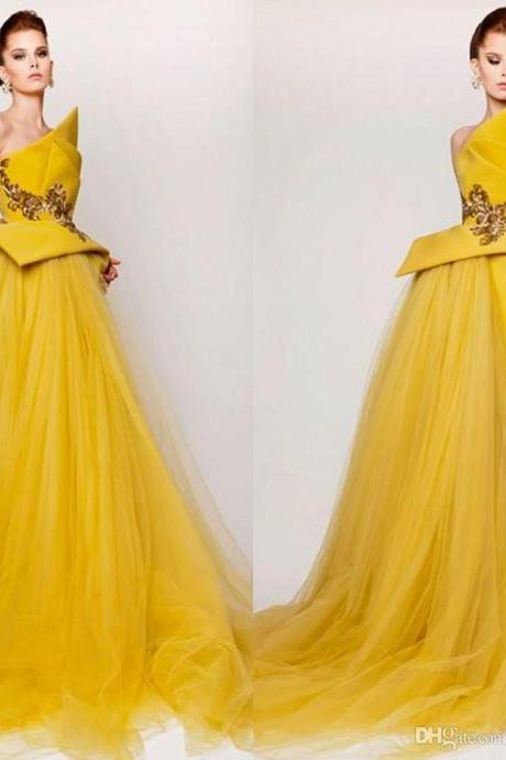 Azzi & Osta Prom Dresses Yellow Strapless High Low Special Dress Tulle Satin Emboridery Sexy Evening Gowns Zipper Appliqued Party Dress