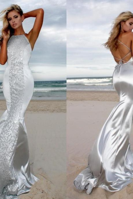 Sexy Silver Beach Mermaid Prom Dresses Boho Bohemian Halter Neck Lace Applique Backless Floor Length Formal Evening Party Wear Custom