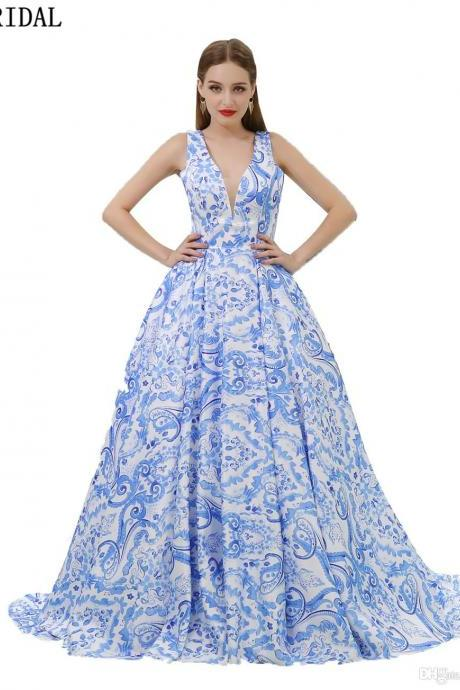 Deep V Ball Gown Evening dresses Blue Printed Long Sleeveless Wholesale Evening Gowns Party Prom Dresses
