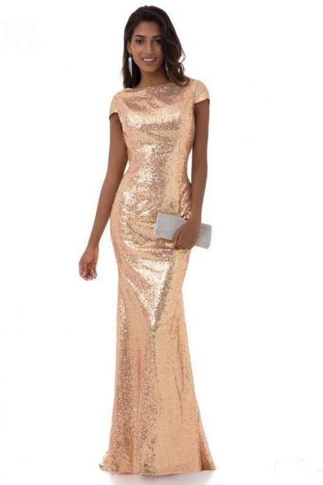 New arrival elegant dress evening dresses prom party sleeveless formal Classic scoop neck Sequins mermaid style
