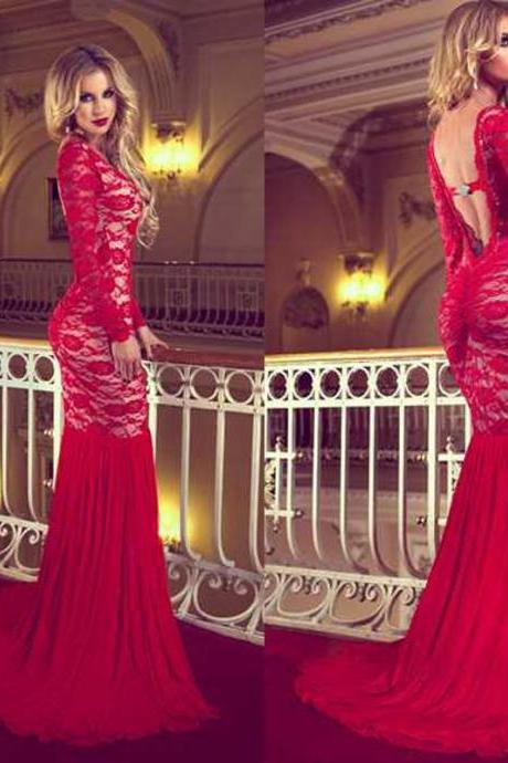 Red Prom Dresses Backless Mermaid Long Sleeve Crew Neckline Backless Court Train Evening Gowns Dhyz