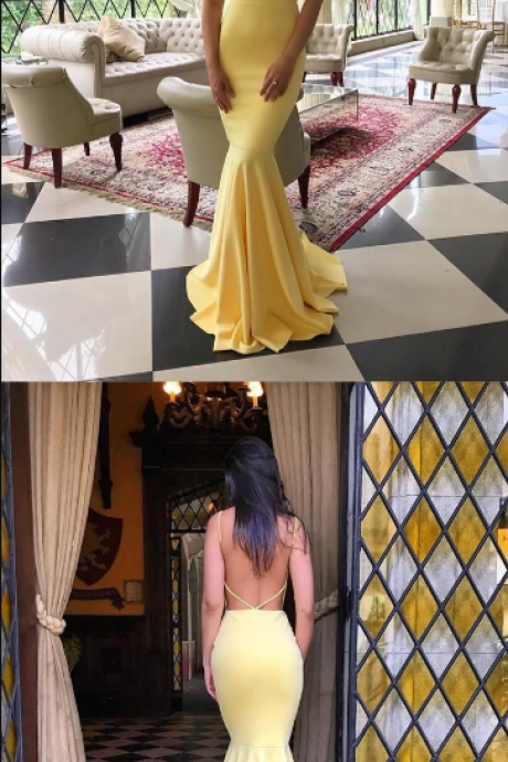 Long Prom Dress, Yellow Mermaid Long Prom Dress