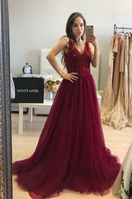 Gorgeous Ball Gown V Neck Open Back Burgundy Tulle Long Prom Dresses with Beading, Sparkly Evening Dresses