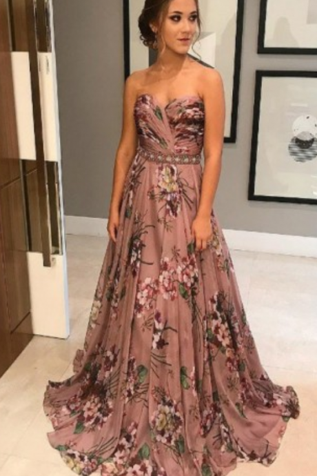 A-Line Sweetheart Blush Floral Elastic Satin Prom Dress with Beading