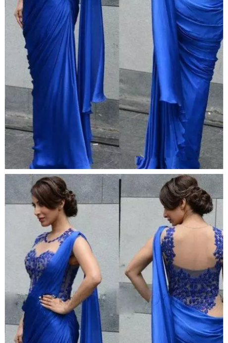 Arabic Indian Women Evening Dresses Sexy Royal Blue Cheap Sheath Applique Sheer Wrap Party Formal Prom Gowns Party Saree
