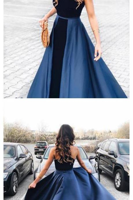 Navy Blue Long Velvet Evening Dresses Open Back Prom Gowns