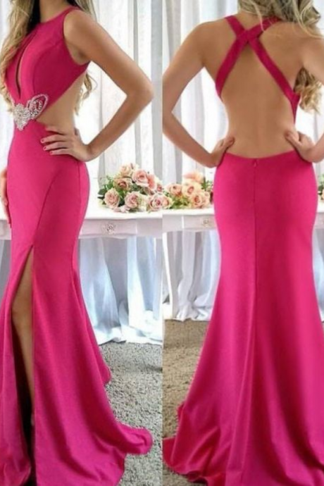 Charming Backless Mermaid Long Evening Dress with Slit, Women Dress