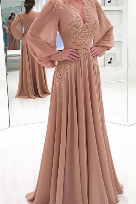 Blush Pink Chiffon Sexy V Neck Evening Dresses Floor Length Long Sleeve Formal Party Gowns Lace Appliques Backless Mother Dresses Plus Size